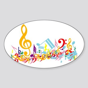 Colorful musical notes Sticker (Oval)