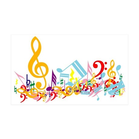 Colorful musical notes 38.5 x 24.5 Wall Peel