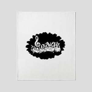 Black Musical notes splat Throw Blanket