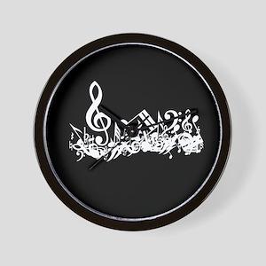 Black Musical notes splat Wall Clock