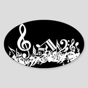Black Musical notes splat Sticker (Oval)