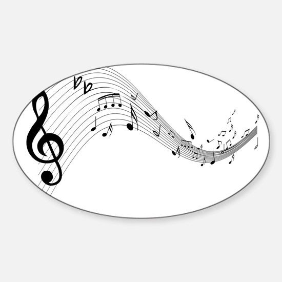 Mixed Musical Notes (black) Sticker (Oval)