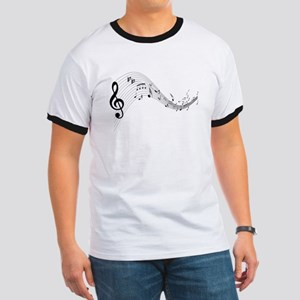 Mixed Musical Notes (black) Ringer T