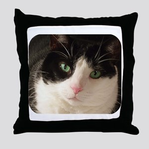 Black & white cat Throw Pillow