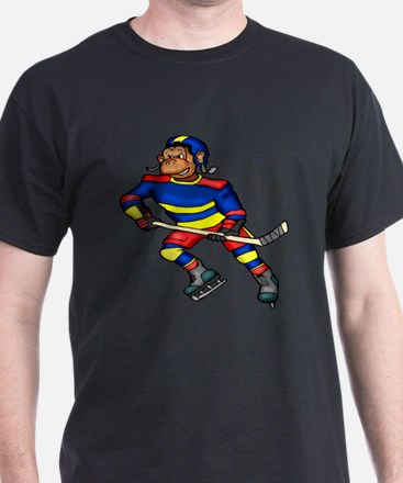 Monkey Hockey Player T-Shirt