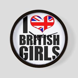I Heart British Girls Wall Clock