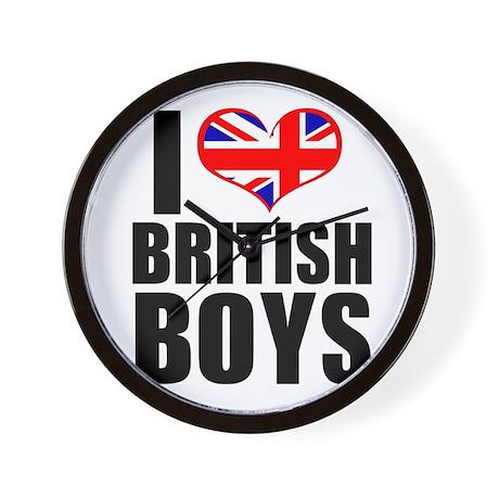 I Heart British Boys Wall Clock