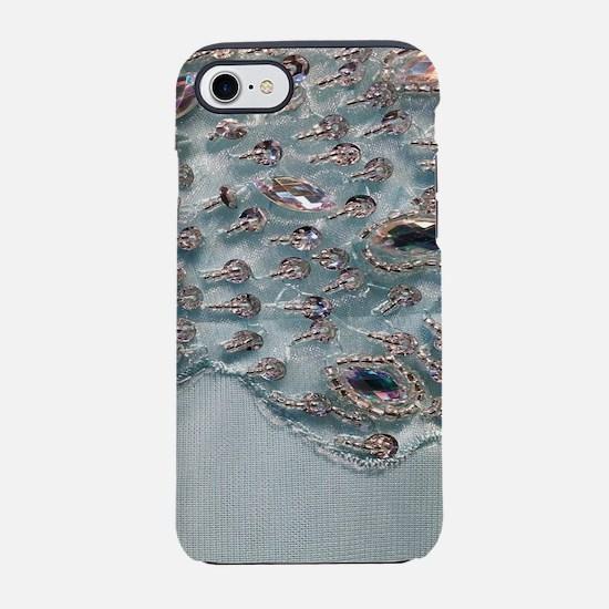 aqua silver sequins lace iPhone 7 Tough Case