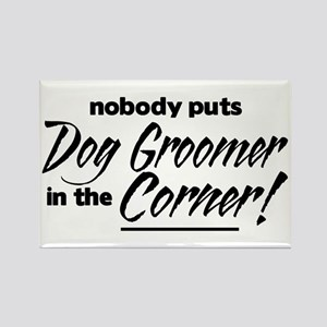 Dog Groomer Nobody Corner Rectangle Magnet