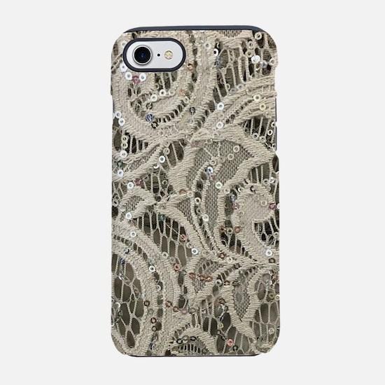 cream sequins lace bohemian iPhone 7 Tough Case