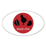 Black Chic Sticker (Oval 50 pk)