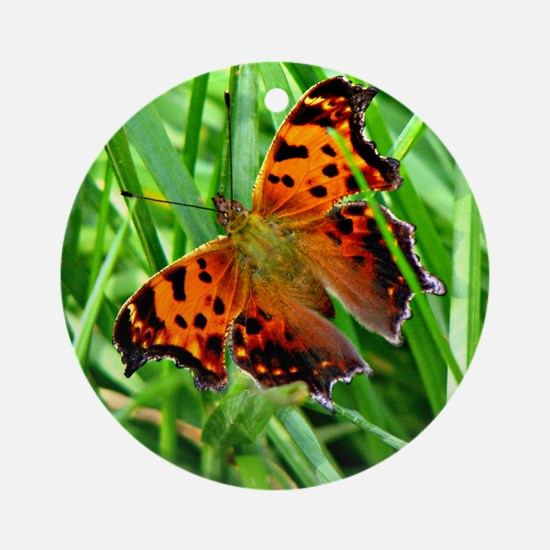 The Orange Red Butterfly Round Ornament