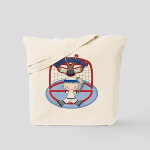 Stick Figure Hockey Goalie Tote Bag