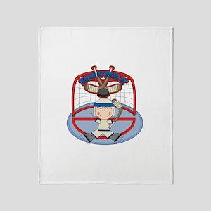 Stick Figure Hockey Goalie Throw Blanket