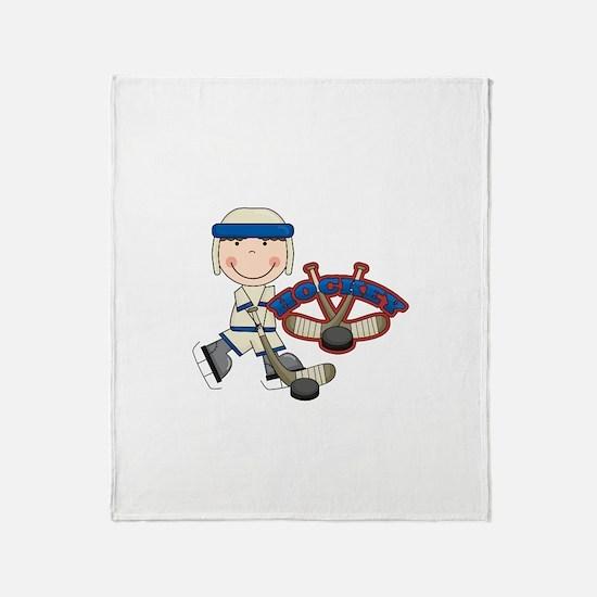Boy Hockey Player Throw Blanket