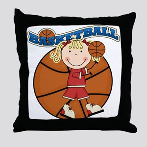 Blond Girl Basketball Throw Pillow