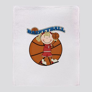 Blond Girl Basketball Throw Blanket