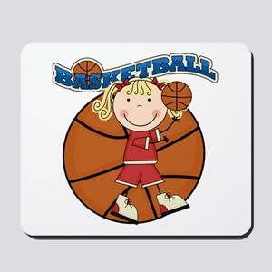 Blond Girl Basketball Mousepad