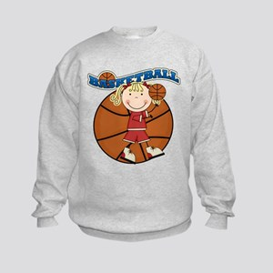 Blond Girl Basketball Kids Sweatshirt