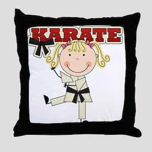 Blond Girl Karate Kid Throw Pillow