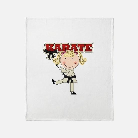 Blond Girl Karate Kid Throw Blanket