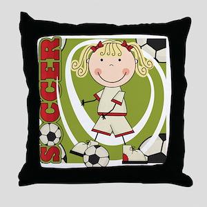 Blond Girl Soccer Player Throw Pillow