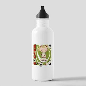Blond Girl Soccer Player Stainless Water Bottle 1.