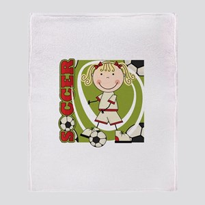 Blond Girl Soccer Player Throw Blanket