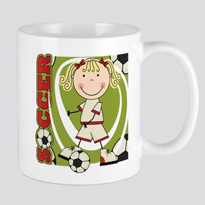 Blond Girl Soccer Player Mug