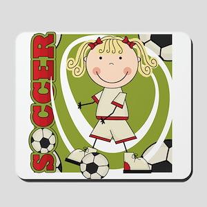 Blond Girl Soccer Player Mousepad