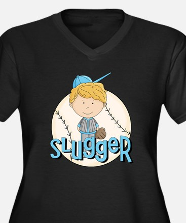 Baseball Slugger Women's Plus Size V-Neck Dark T-S
