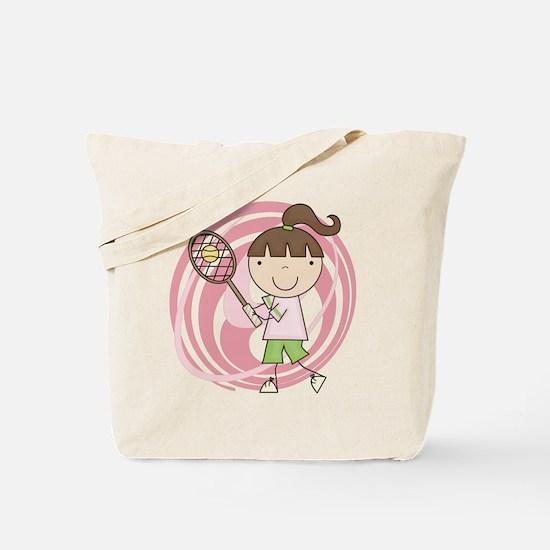 Girl Playing Tennis Tote Bag