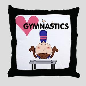 Girl Gymnast Handstands Throw Pillow