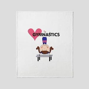 Girl Gymnast Handstands Throw Blanket