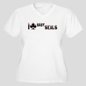 I Club Baby Seals Women's Plus Size V-Neck T-Shirt