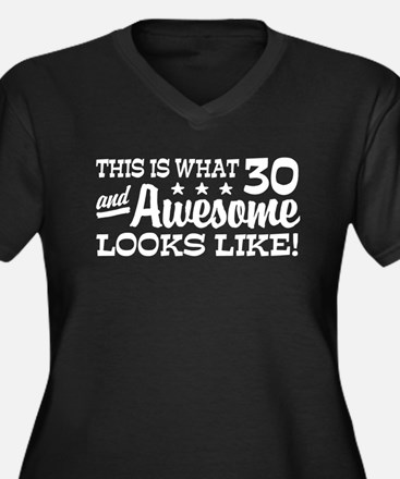 Funny 30th Birthday Women's Plus Size V-Neck Dark