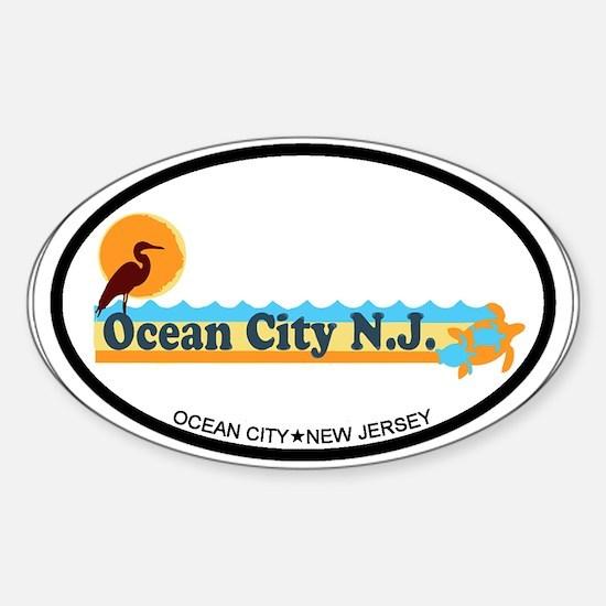Ocean City NJ - Beach Design Sticker (Oval)