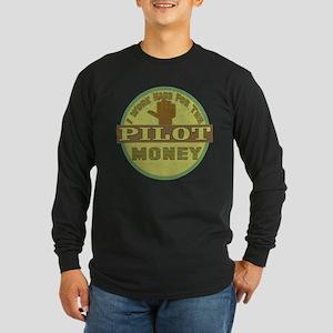 Airplane Pilot Long Sleeve Dark T-Shirt
