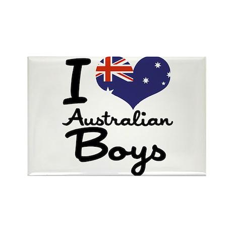 I Heart Australian Boys Rectangle Magnet (10 pack)