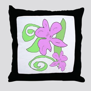 Pink/Green orchid Throw Pillow