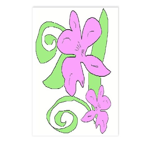 Pink/Green orchid Postcards (Package of 8)