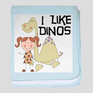 Girl I Like Dinos baby blanket