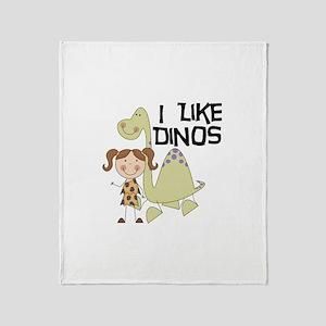 Girl I Like Dinos Throw Blanket