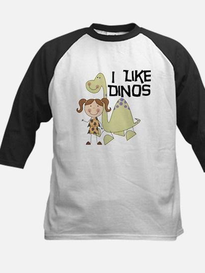 Girl I Like Dinos Kids Baseball Jersey