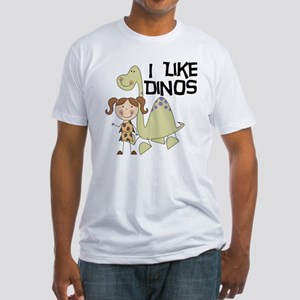 Girl I Like Dinos Fitted T-Shirt