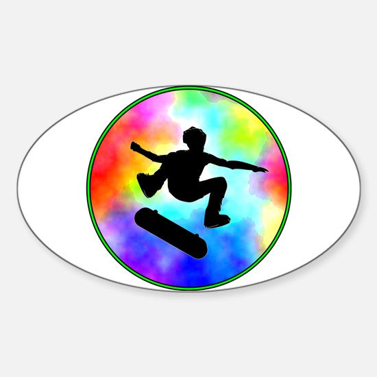 Tie Dye Skater Sticker (Oval)