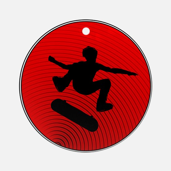 Red Skater Ornament (Round)