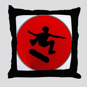 Red Skater Throw Pillow