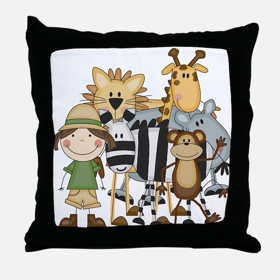 Girl on Safari Throw Pillow
