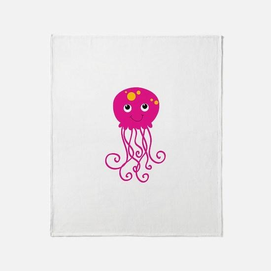 Pink Jellyfish Throw Blanket